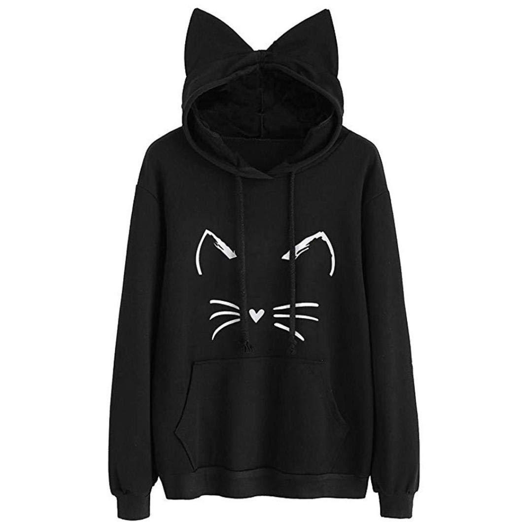 Misaky Women's Cat Print Sweatshirt Long Sleeve Loose Pullover Shirt Thin Hoodie Jacket (R_Black, XX-Large)