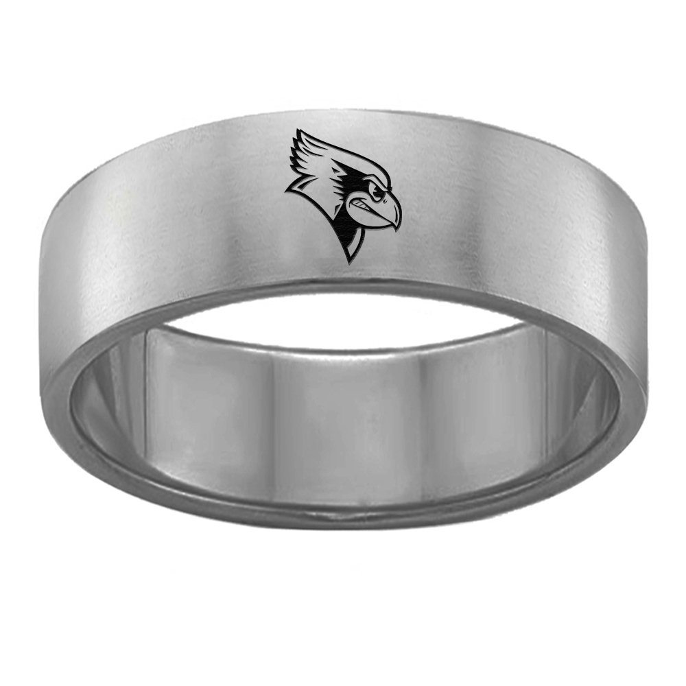 Illinois State Redbirds Single Logo Rings Stainless Steel 8MM Wide Ring Band Size 11.5