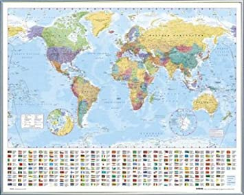 Amazon maps mini poster and frame plastic political world maps mini poster and frame plastic political world map flags ed gumiabroncs Image collections