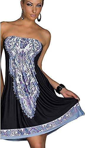 Chicgal Women's Coverup Dress Bohemian Beach Dress Strapless Floral Print Cover-up Dresses (Black01 (Polyester Dress)