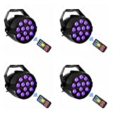 UV Black Lights with Remote 12x3W LED Par Lighting with 8CH for Chritmas Xmas New Year Stage KTV Pub Club Dsico Show Party (4pcs)