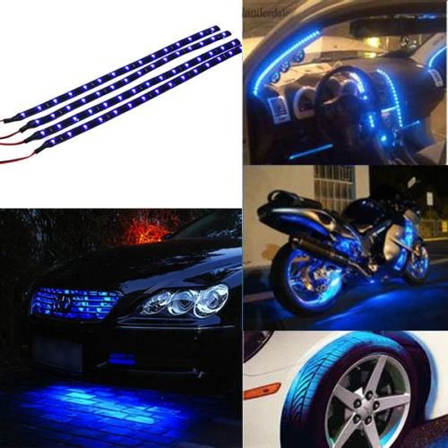 Blue 4pcs 30CM/15 LED Car Motors Truck Flexible Strip Light Waterproof 12V (Mk4 Jetta Headlights Bulb compare prices)