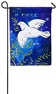 Evergreen Peace on Earth Dove Suede Garden Flag, 12.5 x 18 inches