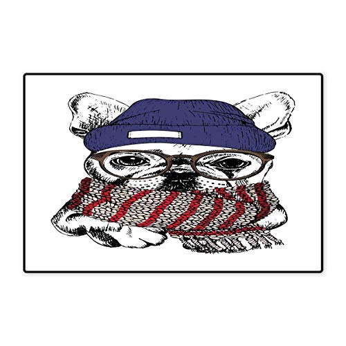 Bulldog Door Mats for Home Hand Drawn Style Portrait of Cozy Winter Dog Wearing a Scarf Beanie and Glasses Bath Mat for Bathroom Mat 16
