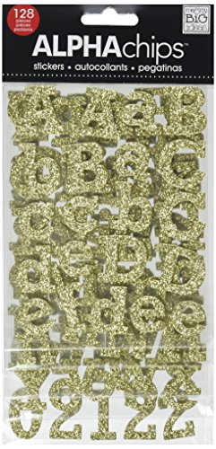 me & my BIG ideas Alpha Chips Designer Chipboard Letter Stickers, Rockwell Alphabet Gold -