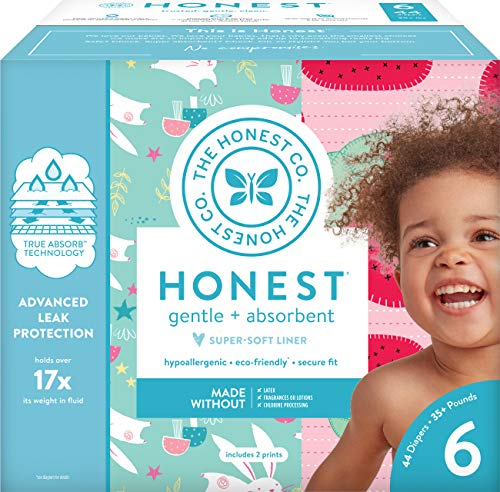 The Honest Company Club Box Diapers with TrueAbsorb Technology, Strawberries & Bunnies, Size 6, 44 Count