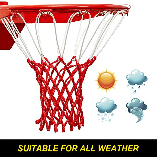 Heavy Duty Nylon Net - Premium Quality Professional Heavy Duty Basketball Net Replacement - All Weather Anti Whip, Fits Standard Indoor or Outdoor Rims (Professional Standard Size, Red&White)