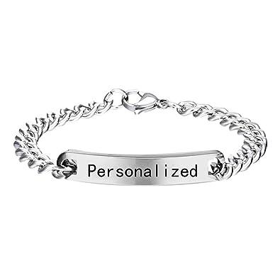 765cfab2e30c Grabado pulsera personalizar pulseras de acero inoxidable Charm ID pulseras  joyas para parejas mujeres hombres (