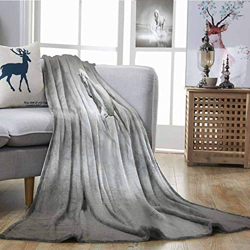 Fickdle Throw Blanket Horses Wild Horse Running Through Water Dramatic Symbol for The Motivation of Life Art Black and White Sofa Chair W70 xL93 -
