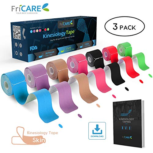 FriCARE Pre-Cut Kinesiology Sport Tape (3 Roll Pack), X Y I Shape, 17ft Athletic Kinetic Strip Aid, Breathable, Water Resistant, Pain Relief Adhesive for Muscles, Shin Splints, Knee&Shoulder (Skin) by FriCARE