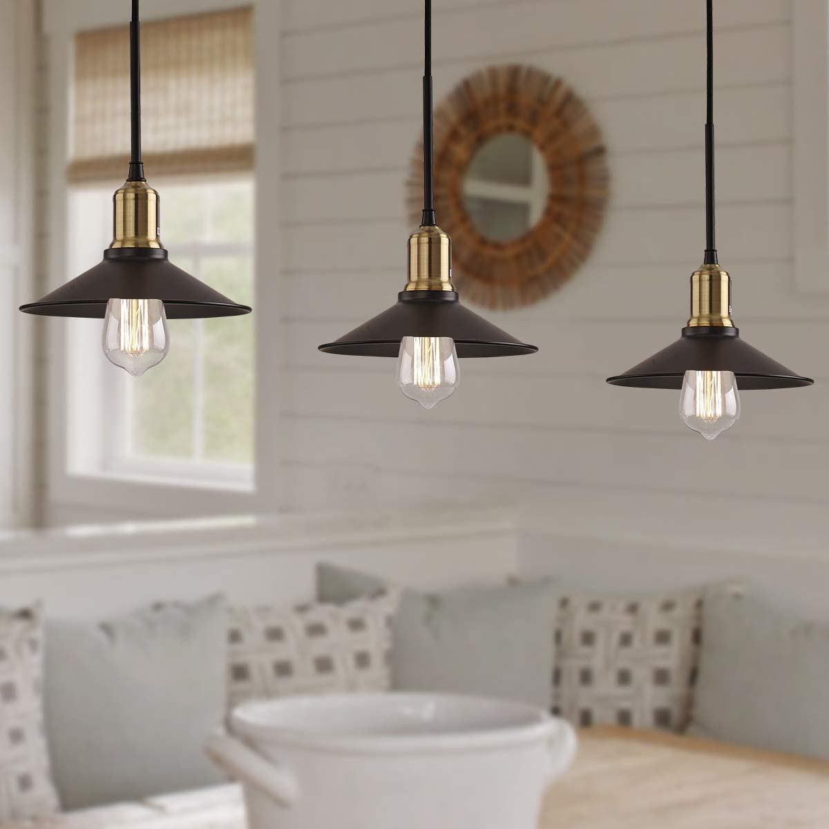 Chandelier Lighting 3 Light Pendant Lighting Modern Starburst Chandelier Mid Century Pendant Lighting Brushed Nickel Ceiling Light Fixture for Kitchen Dining Room Living Room Foyer