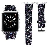 iitee Christmas Shiny Glitter Power PU Leather Bling Luxury iWatch Band Wristwatch Bracelet Strap Belt for Apple Watch (Black, 42mm)