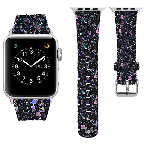 iitee Christmas Shiny Glitter Power PU Leather Bling Luxury iWatch Band Wristwatch Bracelet Strap Belt for Apple Watch (Black, (Black Belt Watch)