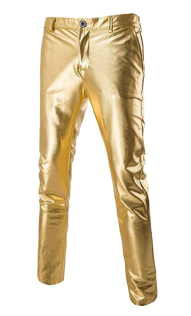 Hurrg Men Straight Slim Fit Metallic Solid Color Dance Nightclub Long Pants