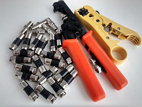 Coax Compression Connector PRO PAK Kit -20 PPC Quad Shield F Connectors, 5 PPC High Freq Barrel Connectors with Professional Adjustable Compression/Crimping tool and cable Stripper - Rg6/RG59/RG58 (Players Pak)