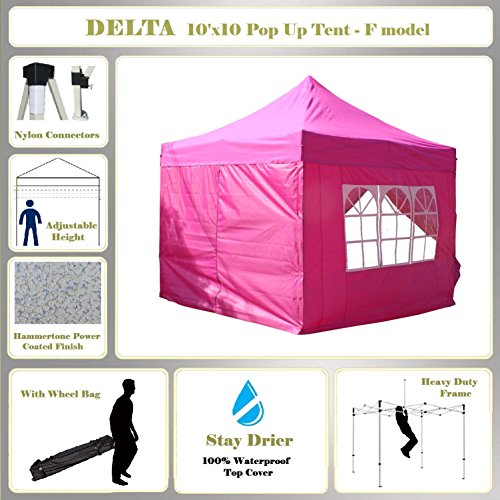 10'x10' Pop up Outdoor Instant Folding Wedding Canopy Party Tent Gazebo EZ Pink - F Model Commercial Frame By DELTA Canopies
