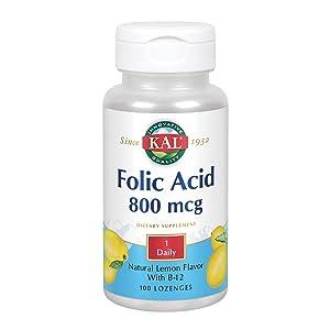 Kal 800 Mcg Folic Acid B-12 Tablets, Lemon, 100 Count