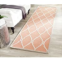 Safavieh Cambridge Collection CAM352W Handcrafted Moroccan Geometric Coral and Ivory Premium Wool Runner (26 x 8)