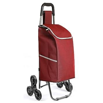 LINGZHIGAN Carrito de compras portátil Comprar carro de vehículos de verduras 6 rondas de escalada Anciano Coche pequeño tirón Carro plegable: Amazon.es: ...
