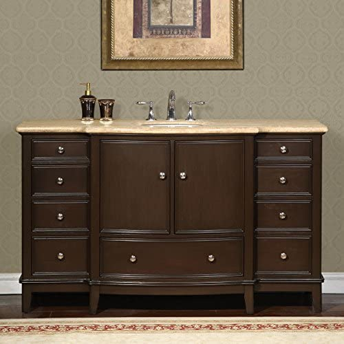 Silkroad Exclusive HYP-0237-T-UWC-60 Gorgeous Bathroom Travertine Top Single Sink Vanity Lavatory Cabinet, 60 , Dark Wood