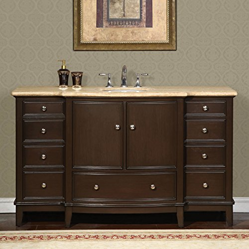 Silkroad Exclusive Gorgeous Bathroom Travertine Top Single Sink Vanity Lavatory Cabinet, 60-Inch