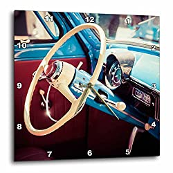 3dRose Alexis Photography - Transport Road - Steering wheel of a vintage budget car. Stylized photo - 15x15 Wall Clock (dpp_271956_3)
