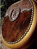 Crocodile Embossed Leather Hair on Cowhide Horseshoe Star Western Oak Toilet Seat
