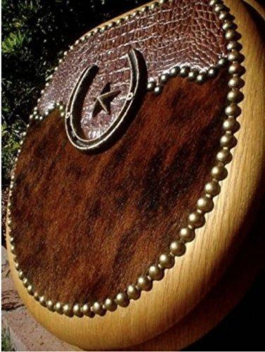 Crocodile Embossed Leather Hair on Cowhide Horseshoe Star Western Oak Toilet Seat by Signature Cowboy Studio