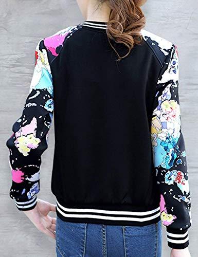 Cerniera Alla Cute Outerwear Black Con Manica 4 Baseball Fit Donna Slim Autunno Elegante Fashion Stampato Casuali Giacca Cappotto Moda Chic Giaccone Primaverile Lunga xnwPTYq4R