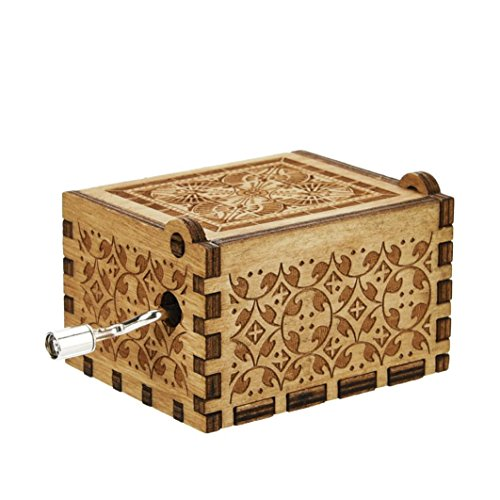 Livoty Mini Music Box Engraved Wooden Music Box Interesting Xmas Gifts Toys (B)
