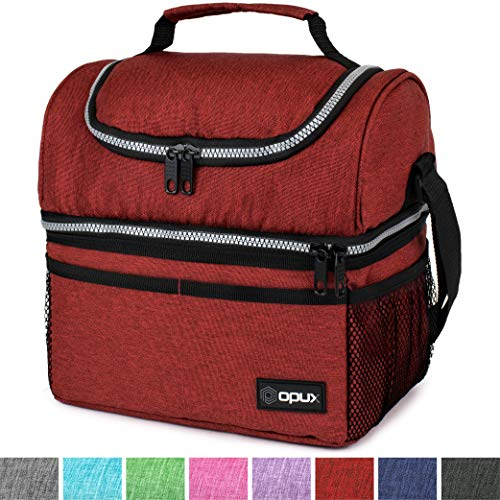 Insulated Dual Compartment Lunch Bag for Men, Women   Double Deck Reusable Lunch Box Cooler with Shoulder Strap, Leakproof Liner   Medium Lunch Pail for School, Work, Office (Heather Red)