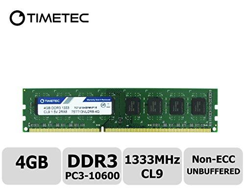 (Timetec Hynix IC 4GB DDR3 1333MHz PC3-10600 Unbuffered Non-ECC 1.5V CL9 1Rx8 Single Rank 240 Pin UDIMM Desktop Memory Ram Module Upgrade (High Density 4GB))