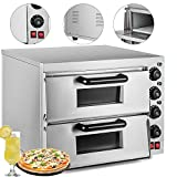 (US) VEVOR Commercial Pizza Oven 3000W Stainless Steel Pizza Oven Countertop 110V Electric Pizza and Snack Oven 16 Inch Deluxe Pizza and Multipurpose Oven for Restaurant Home Pizza Pretzels Baked Dishes