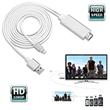 Javoda Lightning To HDMI cable 2M AV TV HDTV Adapter Cable For iPad/iPhone 5S 6 6P 6S With USB Charger Cable Silver Colour