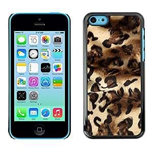 Qstar Arte & diseño plástico duro Fundas Cover Cubre Hard Case Cover para Apple iPhone 5C ( Leopard Fashion Fur Design Dress Pattern)