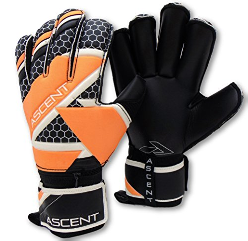 Ascent GK - Goalkeeper Gloves with Removable Pro Fingersaves, Roll Cut - Adult, Youth, Unisex - Soccer Goalie Gloves (Black/Magma, 9) (Fingersave Gloves)