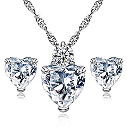 Diamond Heart Style Elegant Crystal Jewelry Set