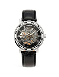 KTC Men's Black Dial Leather Band Luxury Stainless Case Hand-Wind Up Mechanical Wrist Watch WM090