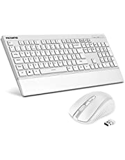 VICTSING Wireless Keyboard and Mouse Set【Lightweight & Quiet Keyboard with Wrist Rest, Longer Battery Life】Cordless UK Keyboard & Mouse with Easily Use USB Receiver for Laptop PC Computer Windows etc