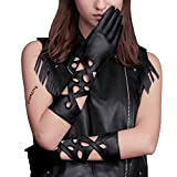 Fioretto Womens Leather Gloves Long Driving Lady Genuine Leather Gloves Sexy Motorcycle Leather Gloves Unlined Irregular Hollow Back Black 7.5