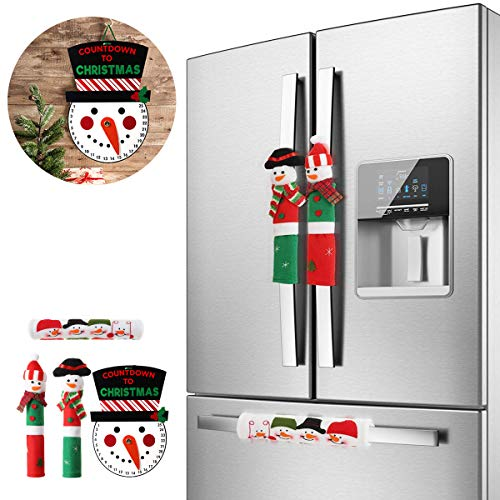 MSDADA Adorable Snowman Refrigerator Handle Covers Set & Snowman Countdown Calendar,Fits Standard Size Kitchen Appliance Microwave Oven Or Dishwasher Door For Christmas Holiday Decorations (4pcs)