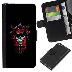 NEECELL GIFT forCITY // Billetera de cuero Caso Cubierta de protección Carcasa / Leather Wallet Case for Apple Iphone 5C // Slayer Cráneo gótico oscuro