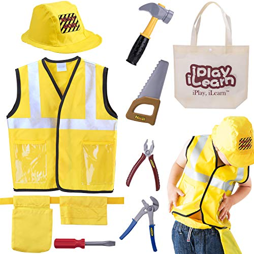 iPlay, iLearn Construction Worker Costume Role Play Kit Set, Engineering Dress Up Gift Educational Toy for Halloween Activities Holidays Christmas for 3, 4, 5, 6, 7 Year Old Kids Toddlers Boys -