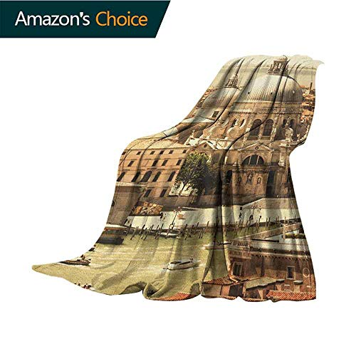 Venice Blanket,Antique Italian Architecture Basilica in Venice Historical European Waterfront All Seasons Anti-Static Couch Blanket Travelling Camping Blanket,60