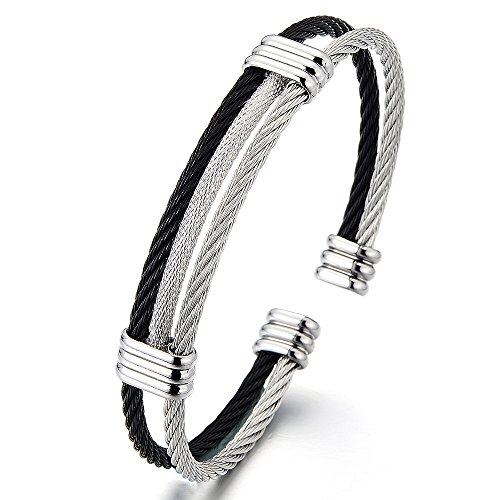 (COOLSTEELANDBEYOND Mens Womens Stainless Steel Twisted Cable Adjustable Cuff Bangle Bracelet Silver Black Two Tone)