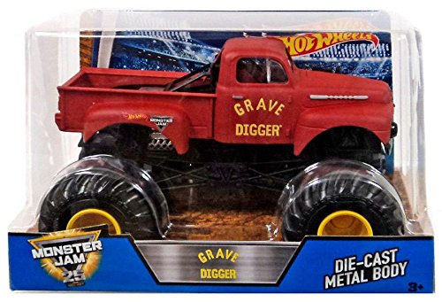 Hot Wheels Monster Jam Grave Digger Vehicle, Red (Red Monster Truck)