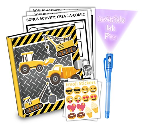 Construction Trucks Kids Diary With Lock Includes 6.5 Inch Diary, Invisible Ink Pen, Stickers, & Bonus Activity Pages - Merchants Diary