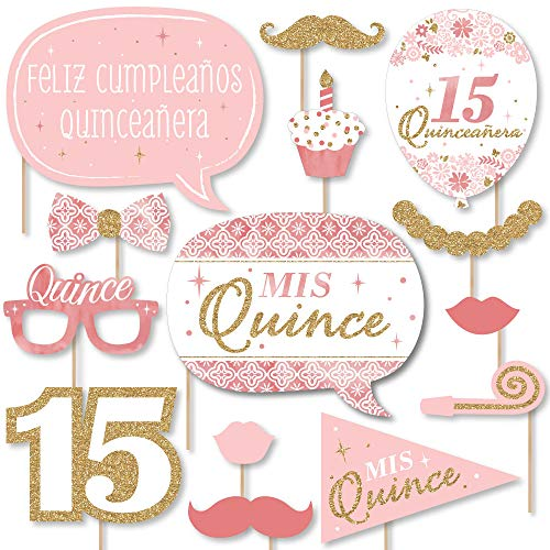 Big Dot of Happiness Mis Quince Anos - Quinceanera Sweet 15 Birthday Party Photo Booth Props Kit - 20 Count]()