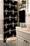 New Orleans Saints COMBO Shower Curtain, Matching Shower Curtain Rings & Set of (Four) Appliqué Bath Towels with Team Logo - Decorate your Bathroom & SAVE ON BUNDLING!