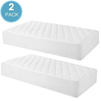 Toddler Waterproof Organic Bamboo Quilted Fitted Mattress Pad with 28 x 52 Hypoallergenic Baby Mattress Cover 2 Pack Crib Mattress Protector